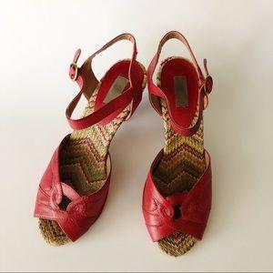 Miz Mooz Red Leather Strappy Winston Heel 7